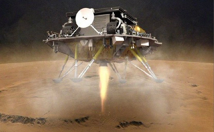 An artist's impression of the Tianwen-1 lander module touching down on Mars