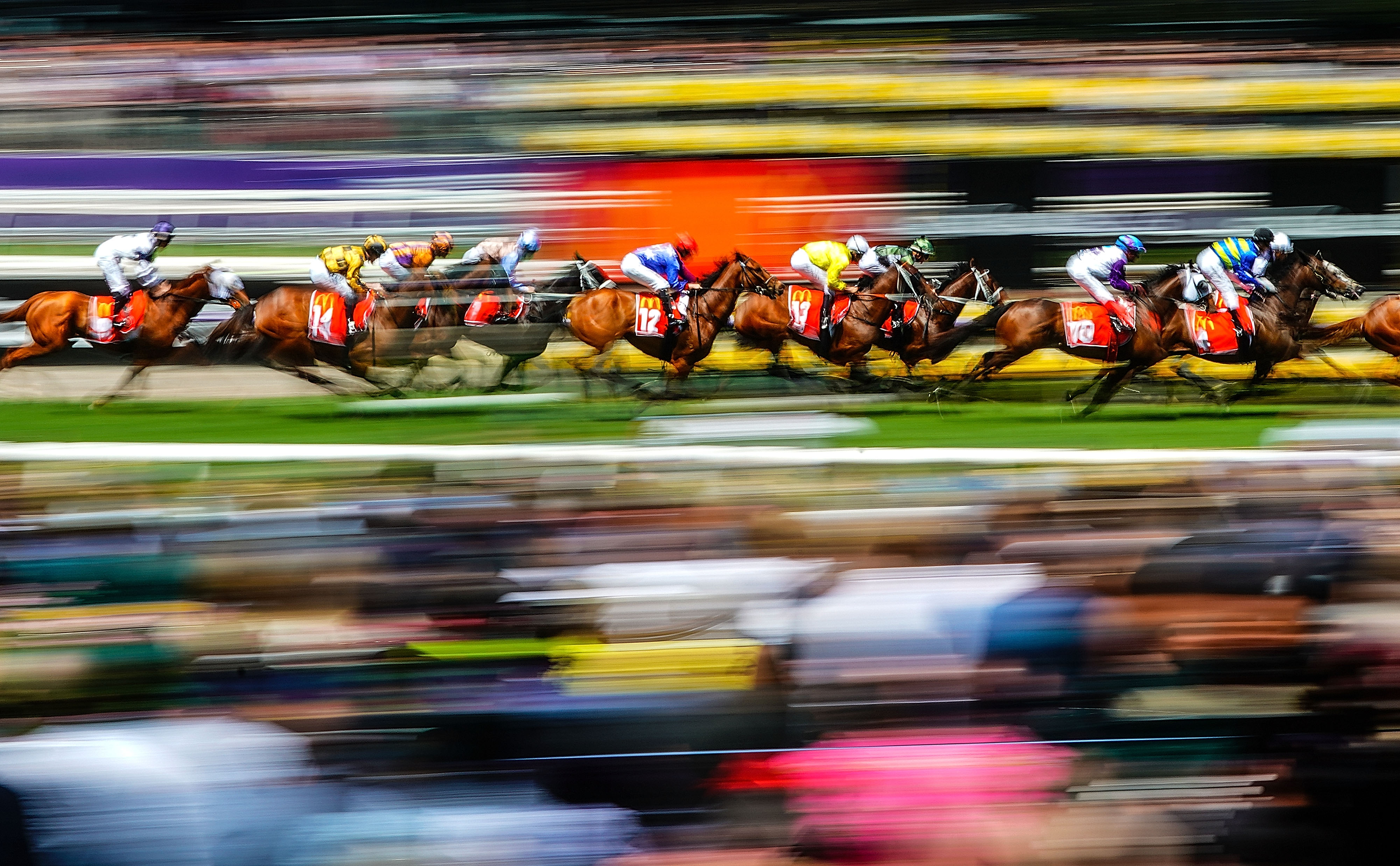 Sports category finalist: Horse RacingA general view during race 4 The Macca's Run during Melbourne Cup Day, at Flemington Racecourse in Melbourne, Tuesday, November 5, 2019. Category: Sports Camera: Alpha 9 II Lens: FE 70-200mm F2.8 GM OSS Focal length: 100mm Shutter speed: 1/8s Aperture: ƒ/29 ISO: 50