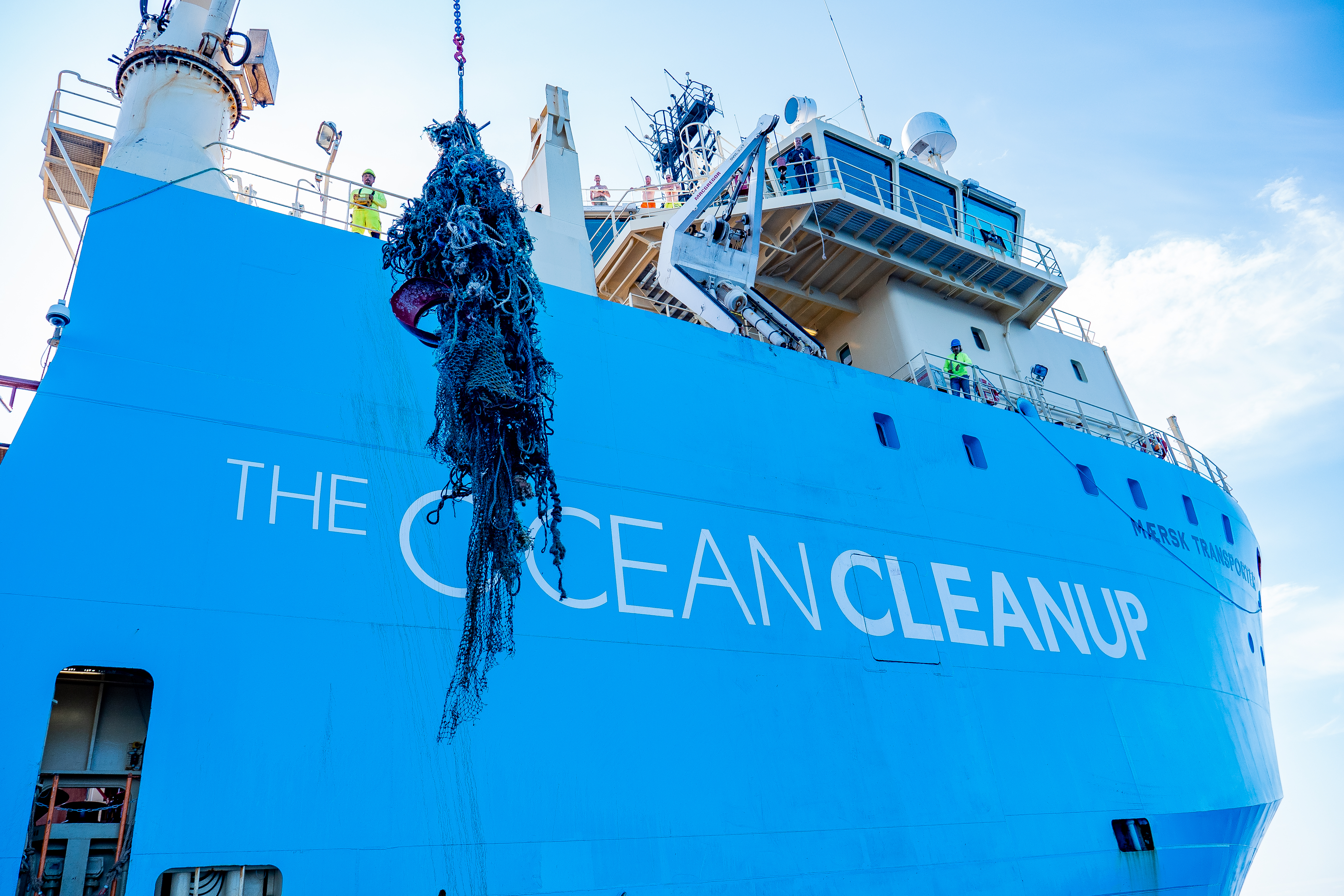 Ocean Cleanup hauls its first batch of plastic trash back to shore