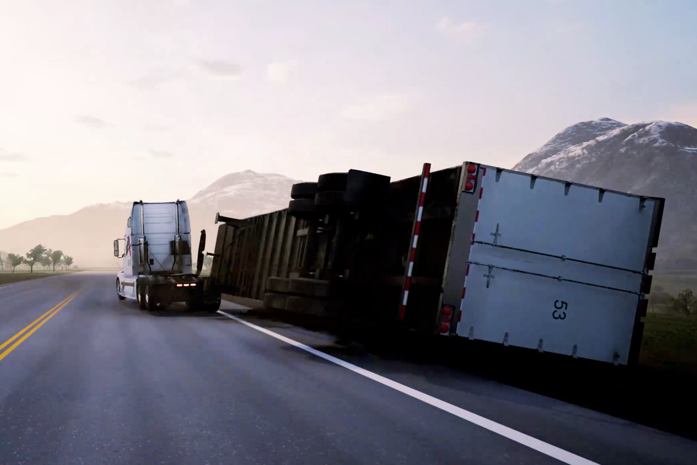 When a big, heavy trailer starts to tip, the TARS system releases it in an instant to keep the driver and the cab upright and safe