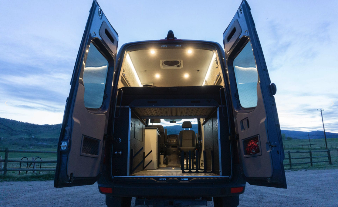 Modular ski/surf bum camper van keeps van life thriving in winter
