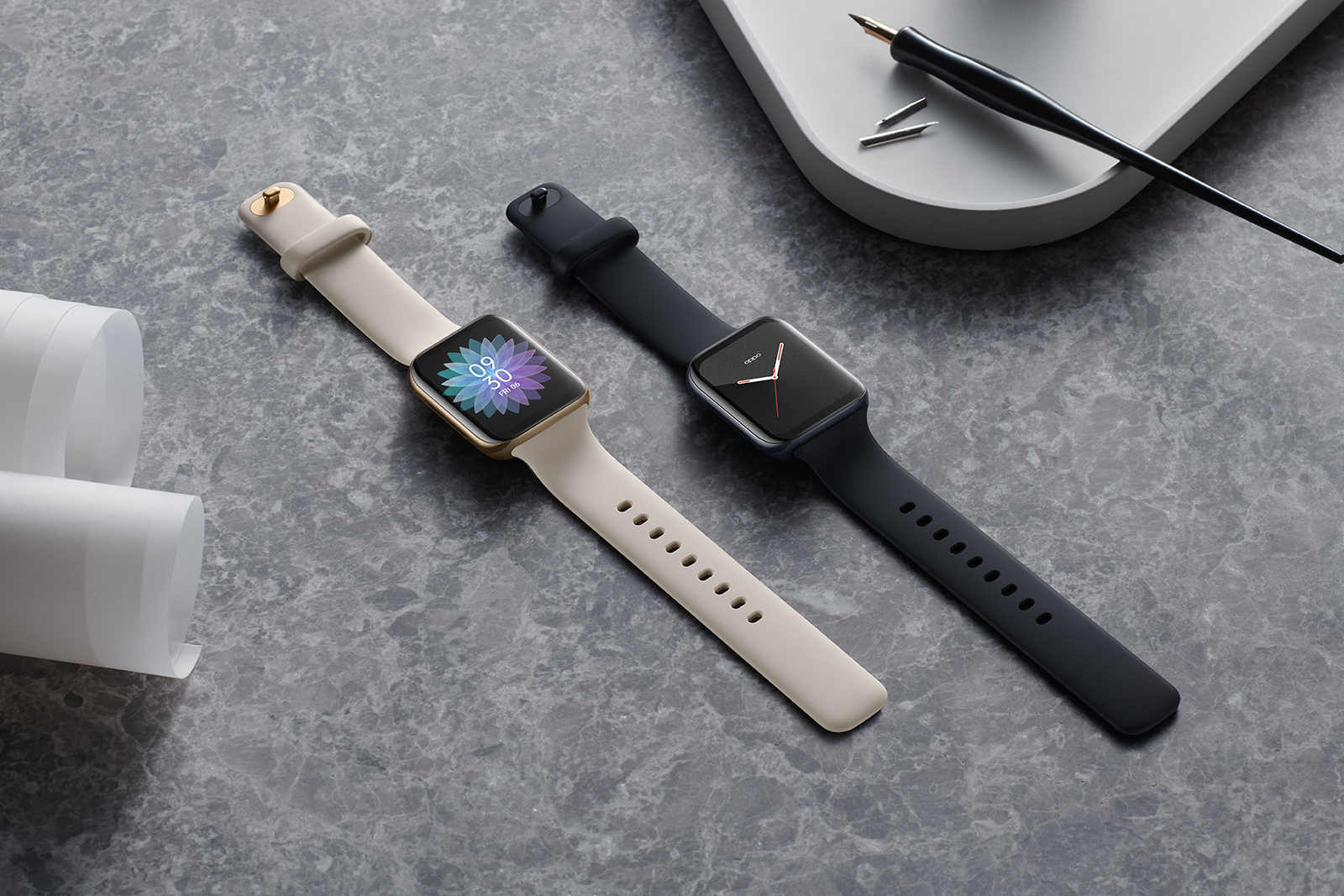 Two sizes of the new Oppo Watch are available