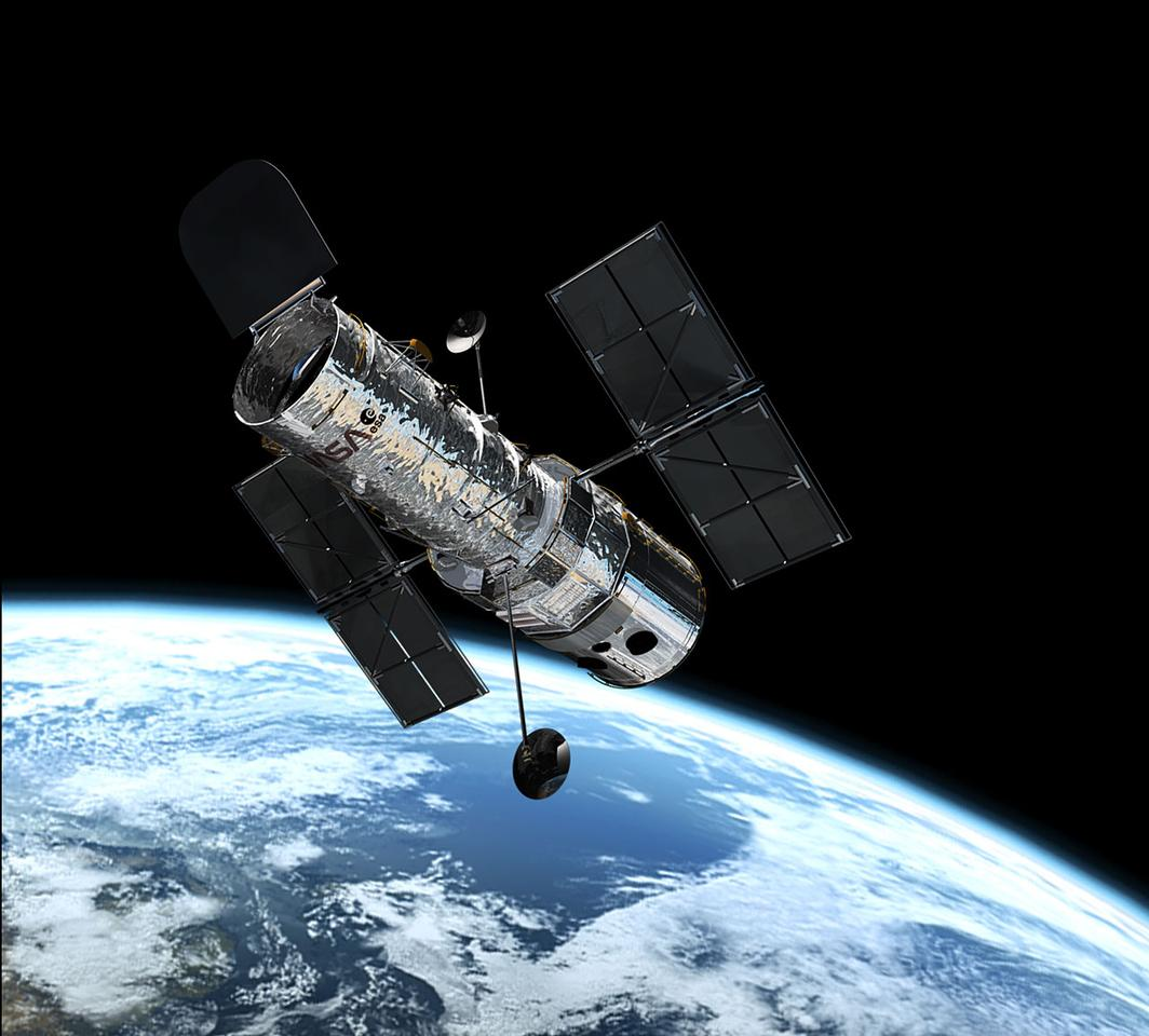 The Hubble Space Telescope is in orbit at 600 kilometers, or approx. 400 miles above Earth (Image: ESA)