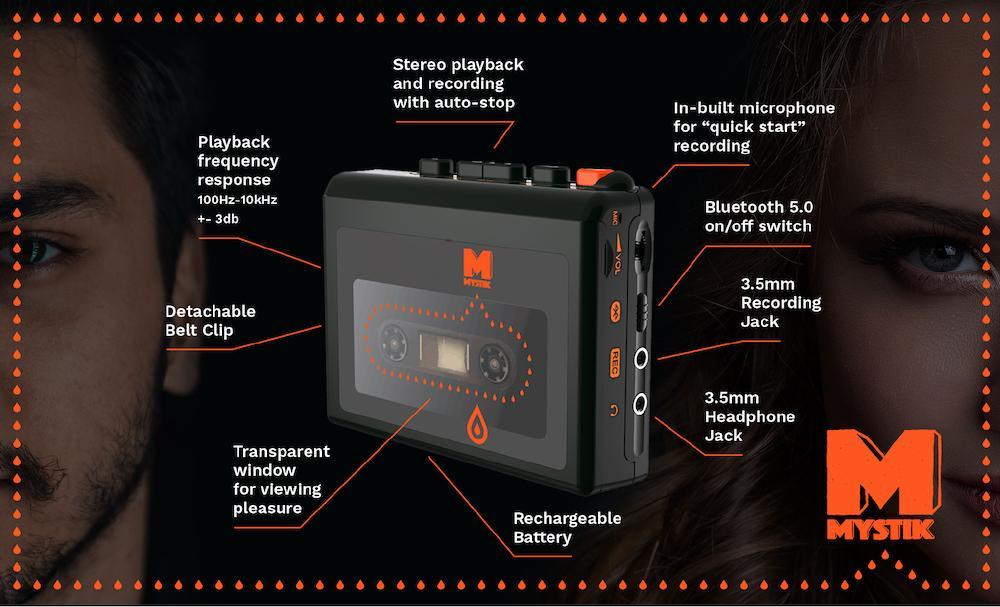 Diagram showing the main specs for the Mystik portable audio cassette player