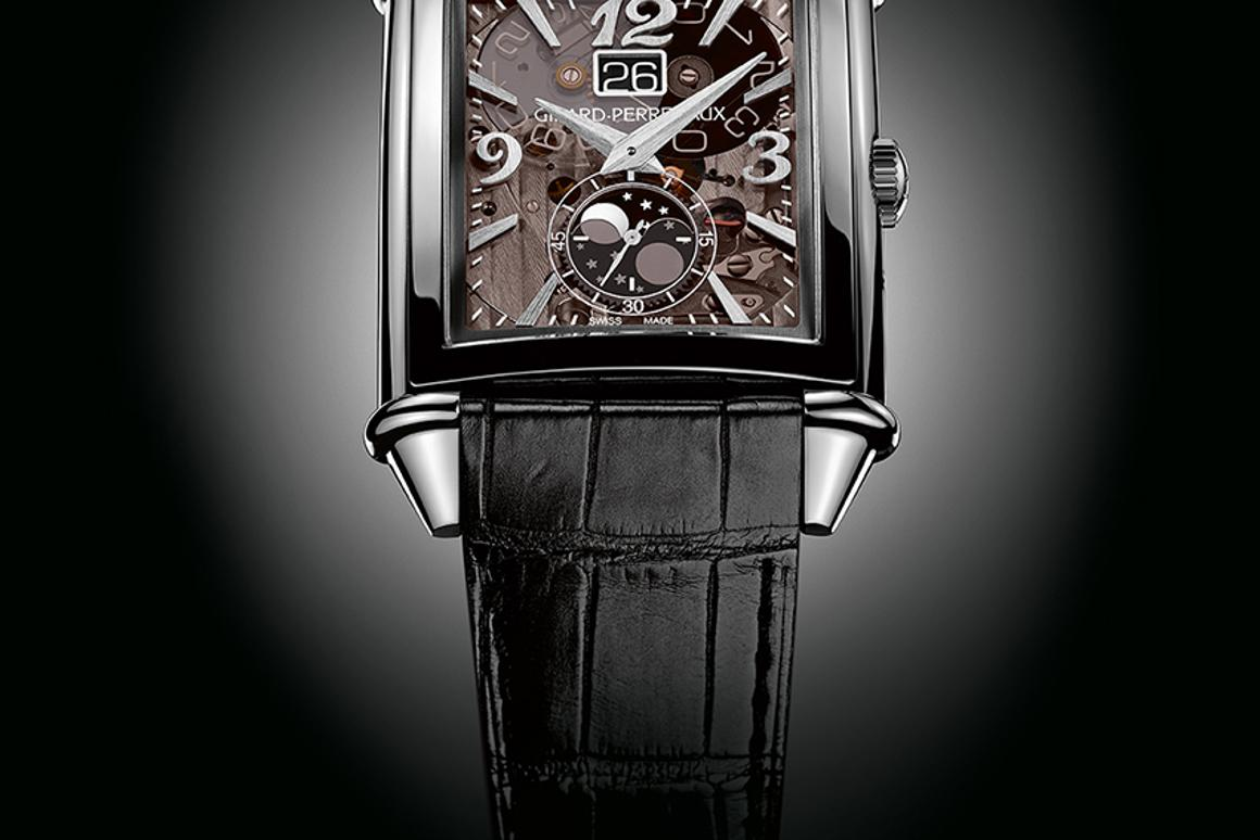 The Vintage 1945 Large Date and Moon-Phases watch replaces the dial with one made of transparent sapphire