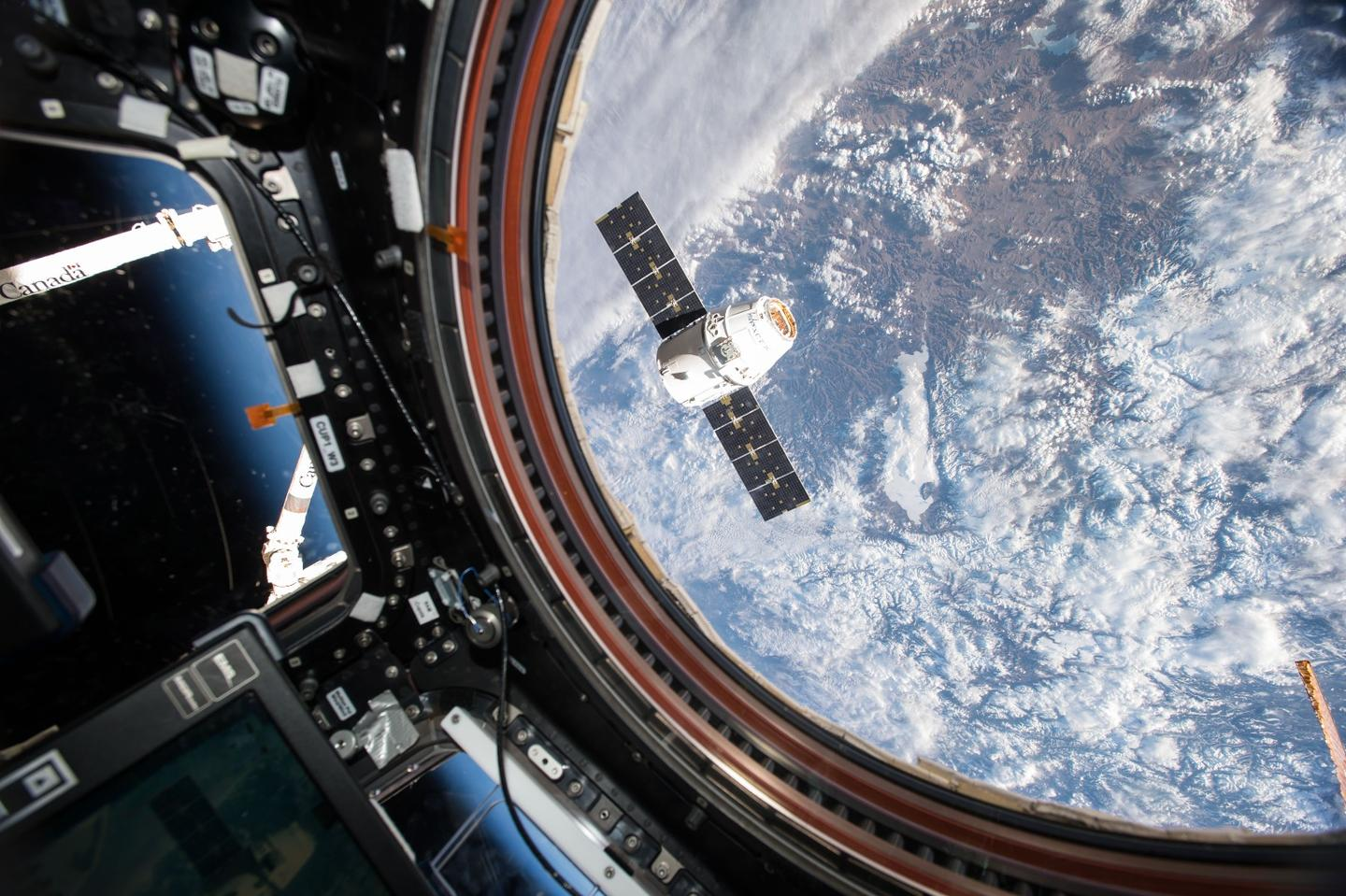 The SpaceX Dragon spacecraft as seen from the ISS on an earlier mission