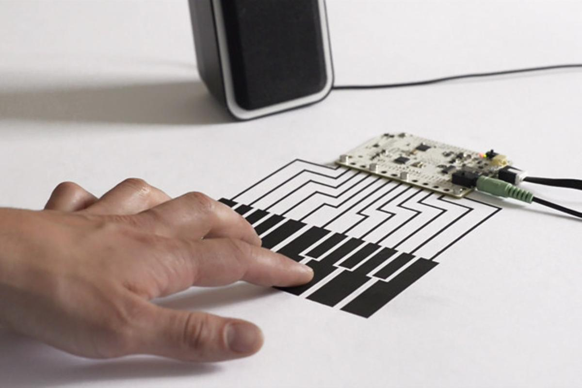 """Touch Board turns any conductive material into a potential capacitive touch input, like this """"piano"""""""