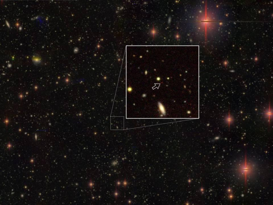 One of the most distant quasars, as seen by the Hyper Suprime-Cam, is 13.05 billion light-years away
