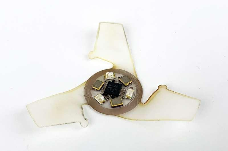 The winged microchip is made up of electronic components at the center, with three wings that catch the wind