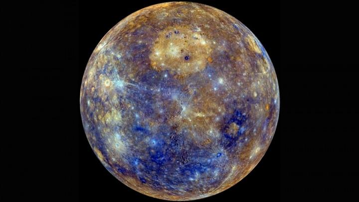 The tan colored region in the upper section of this color map of Mercury represents a region that experienced effusive volcanism in the ancient past