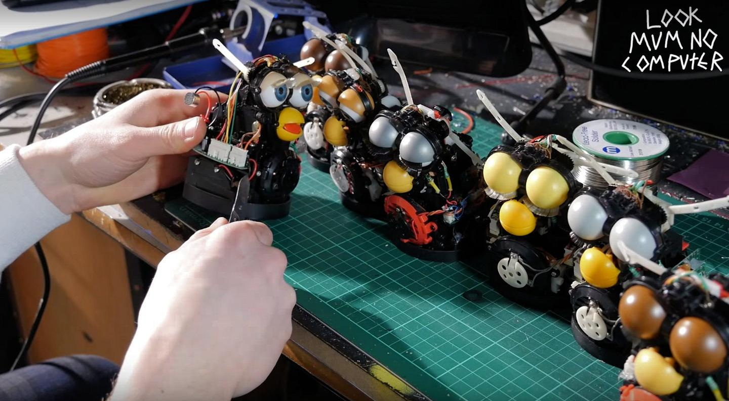 Each Furby had to be dismantled and wired up to a main board housed at the rear of the Furby Organ's ply case