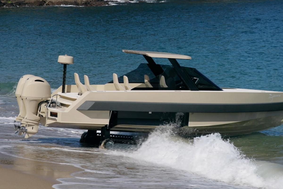 The seven-seat amphibious Iguana Commuter Limousine combines the company's signature retractable caterpillar tracks, with an adjustable retractable hardtop and shock-mitigating seats