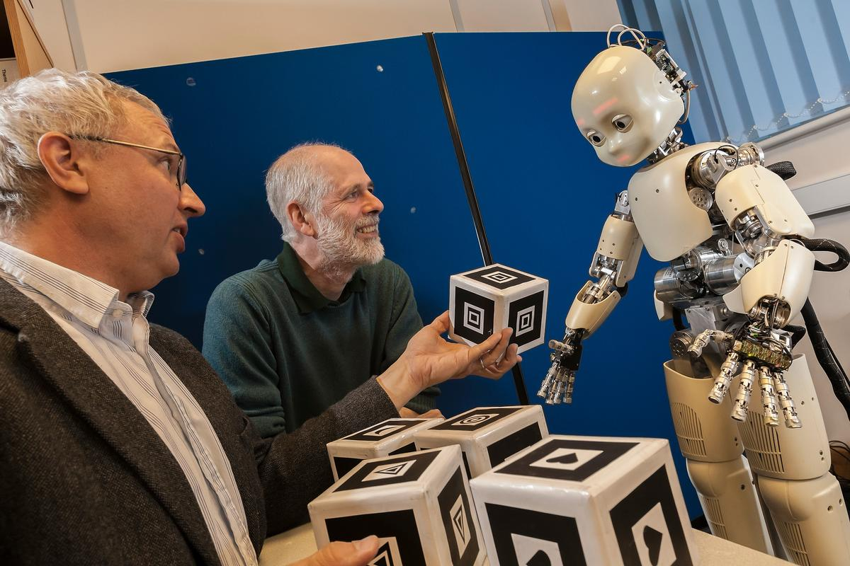 Researchers at the University of Hertfordshire teach the iCub robot how to form words, as part of the iTalk project