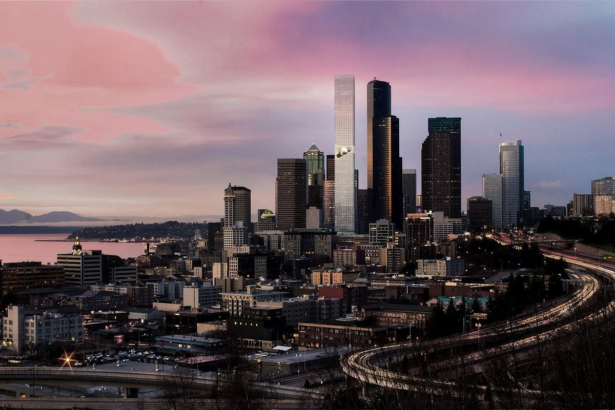 Seattle Tower would rise to a height of 1,185 ft (361 m)