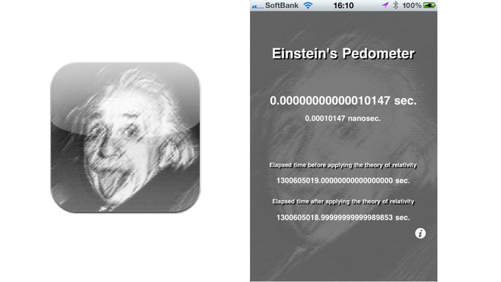The Einstein's Pedometer app measures how much extra time you've gained by moving