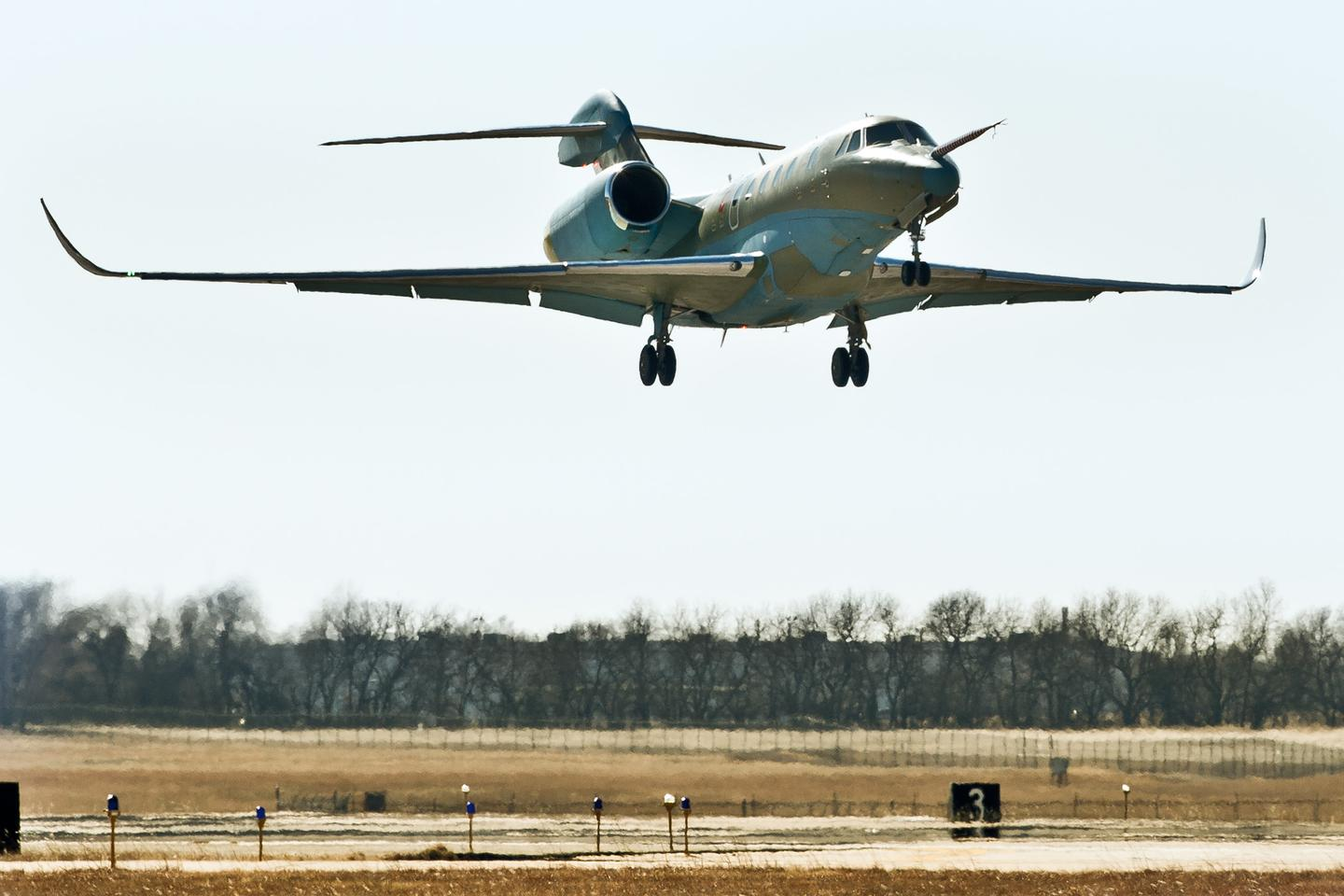 The Cessna Citation Ten prototype takes off for its first flight