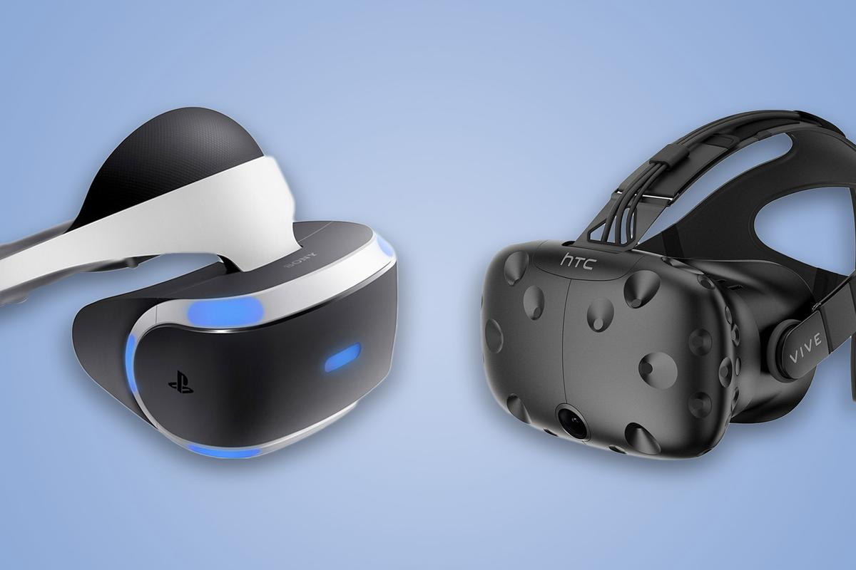 New Atlas compares the features and specs of Sony's PlayStation VR(left) and the HTCVive