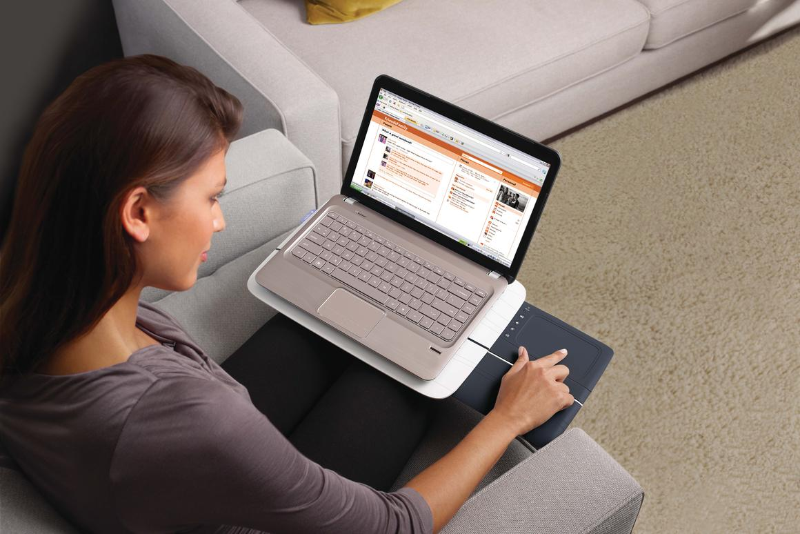 Logitech has announced a new Lapdesk that features a retractable 5-inch touchpad surface