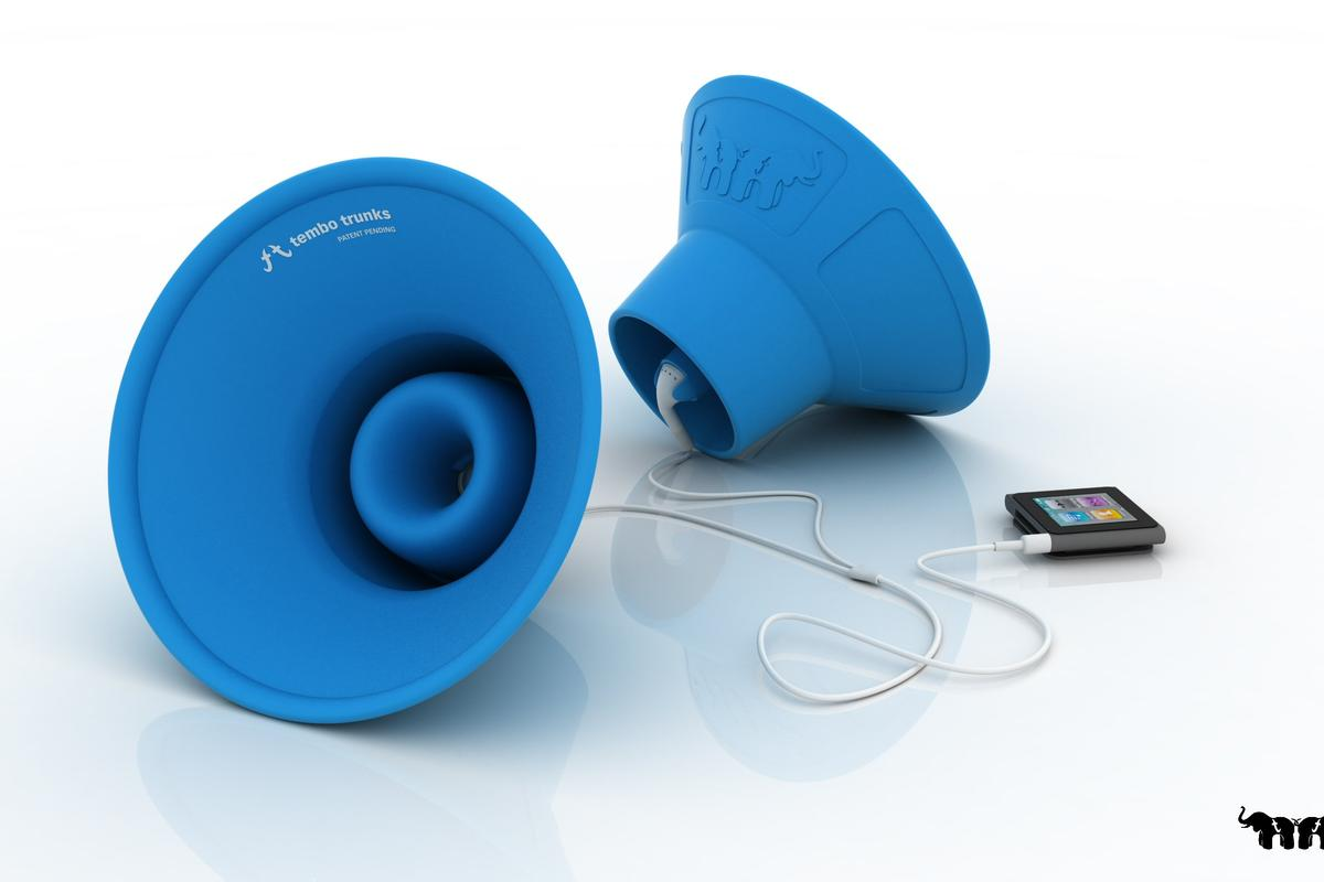 Scott and Mike Norrie have designed some fold-away, lightweight, power-free iPod earbud amplifiers called Tembo Trunks