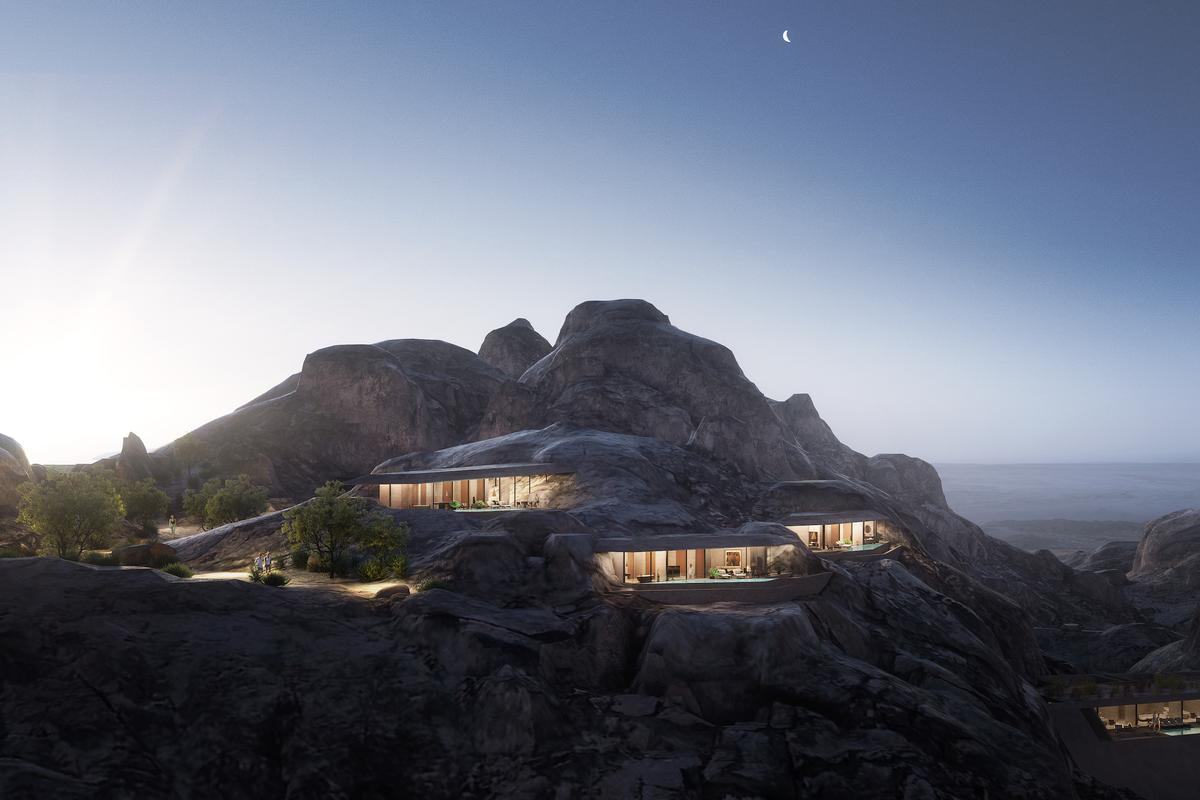 The Desert Rock hotel is part of the huge Red Sea Project development in Saudi Arabia that also includes works by Foster + Partners