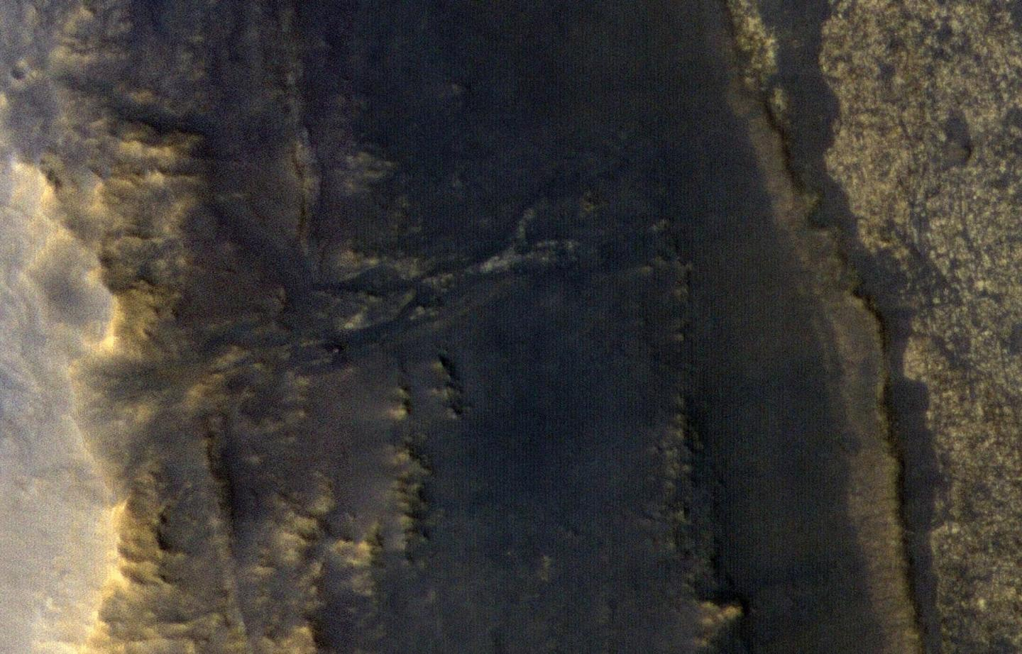 Opportunity is a small dot in the valley on the middle left of the image
