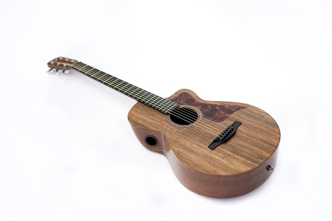 The Savoy three-quarter acoustic guitar is made from Ekoa, a sustainable linen fiber and bio-resin composite