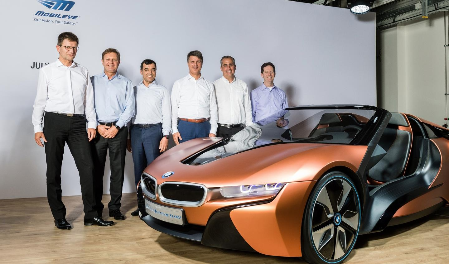 Intel, Mobileye and BMW bigwigs alongside BMW's precursor to the iNEXT