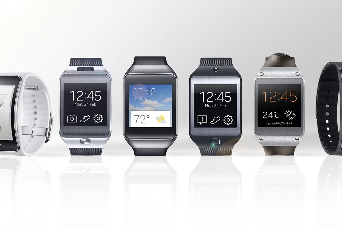Gizmag compares the features and specs of the Gear S (far left) to Samsung's previous five(!) smartwatches