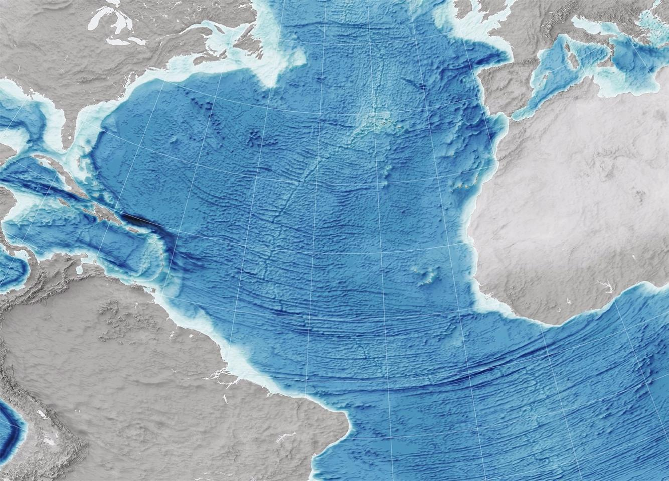 Relief map of the Atlantic Ocean