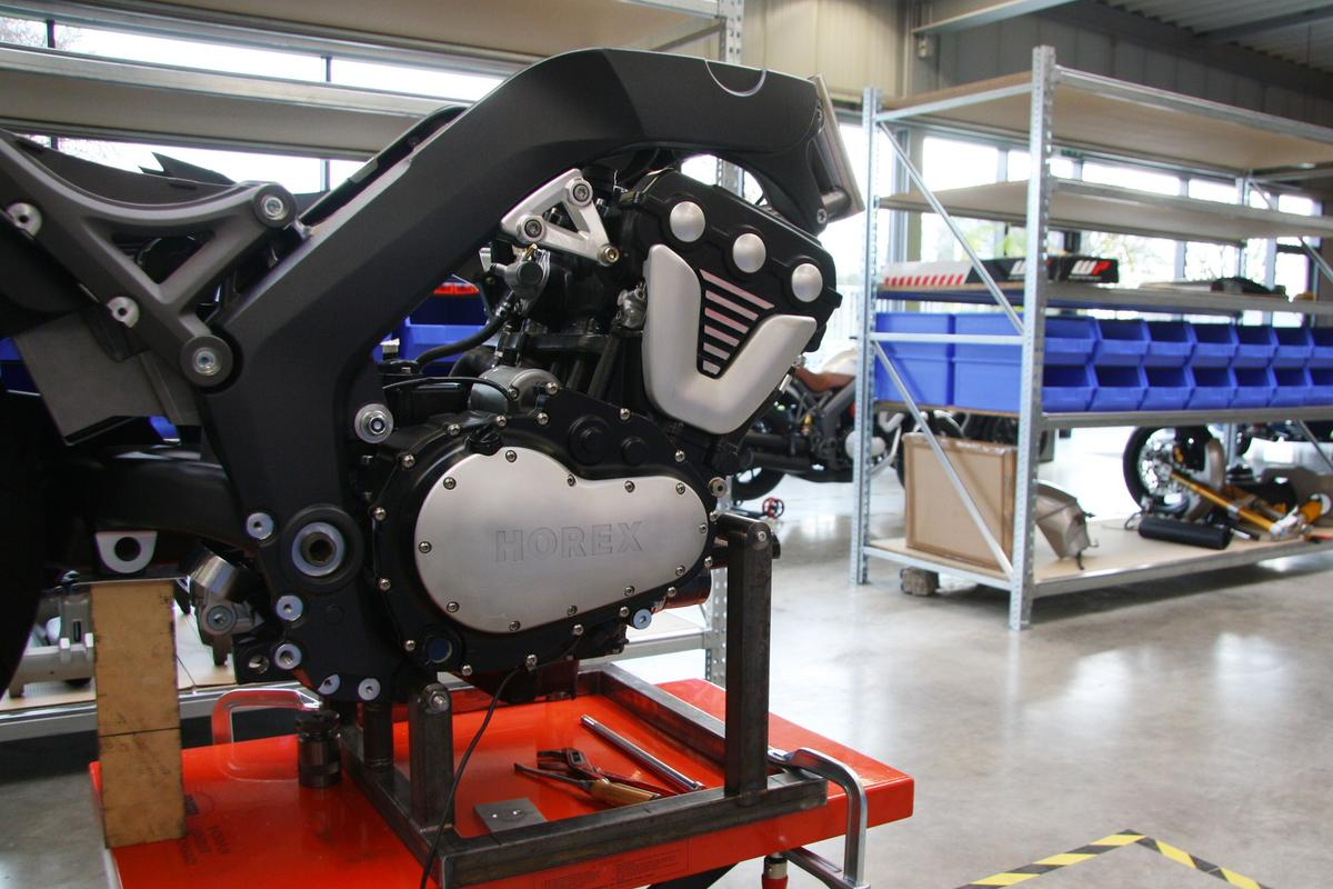 A V6 Horex engine sits in the frame, waiting for production to begin.