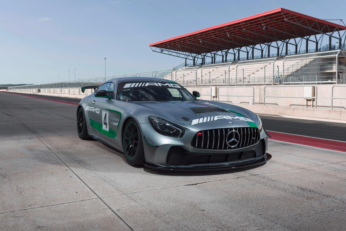 Power comes from a twin-turbo V8 in the AMG GT4