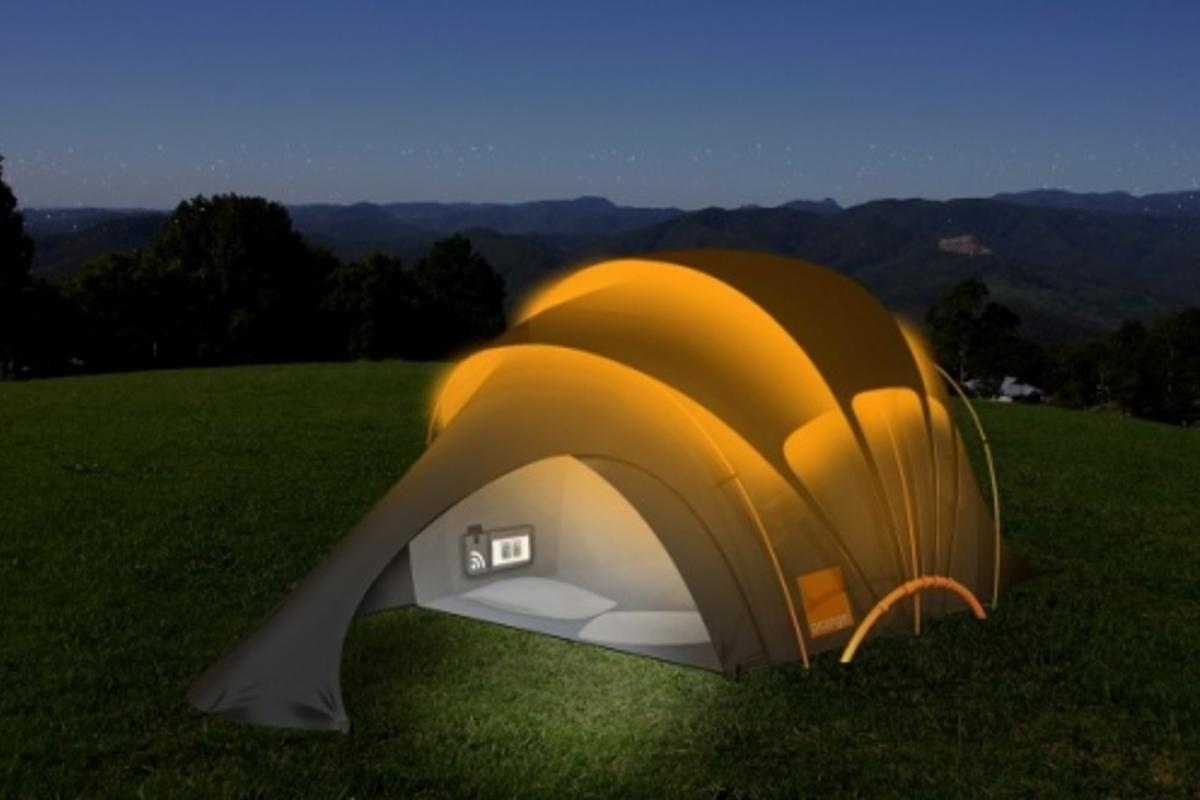Using SMS text messages the Concept Tent glows to notify inhabitants of its location