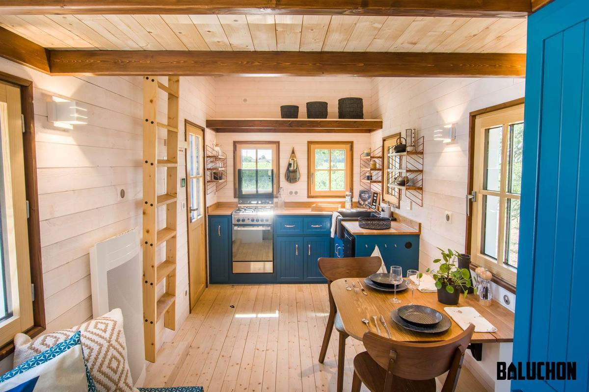 The Solaris tiny house has a spacious kitchen, by French tiny house standards