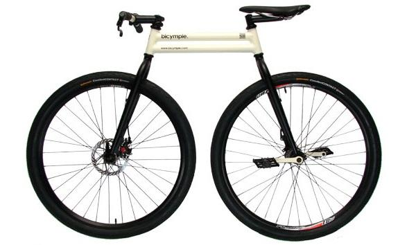 The Bicymple resembles a unicycle with a front wheel and handlebars attached for stability