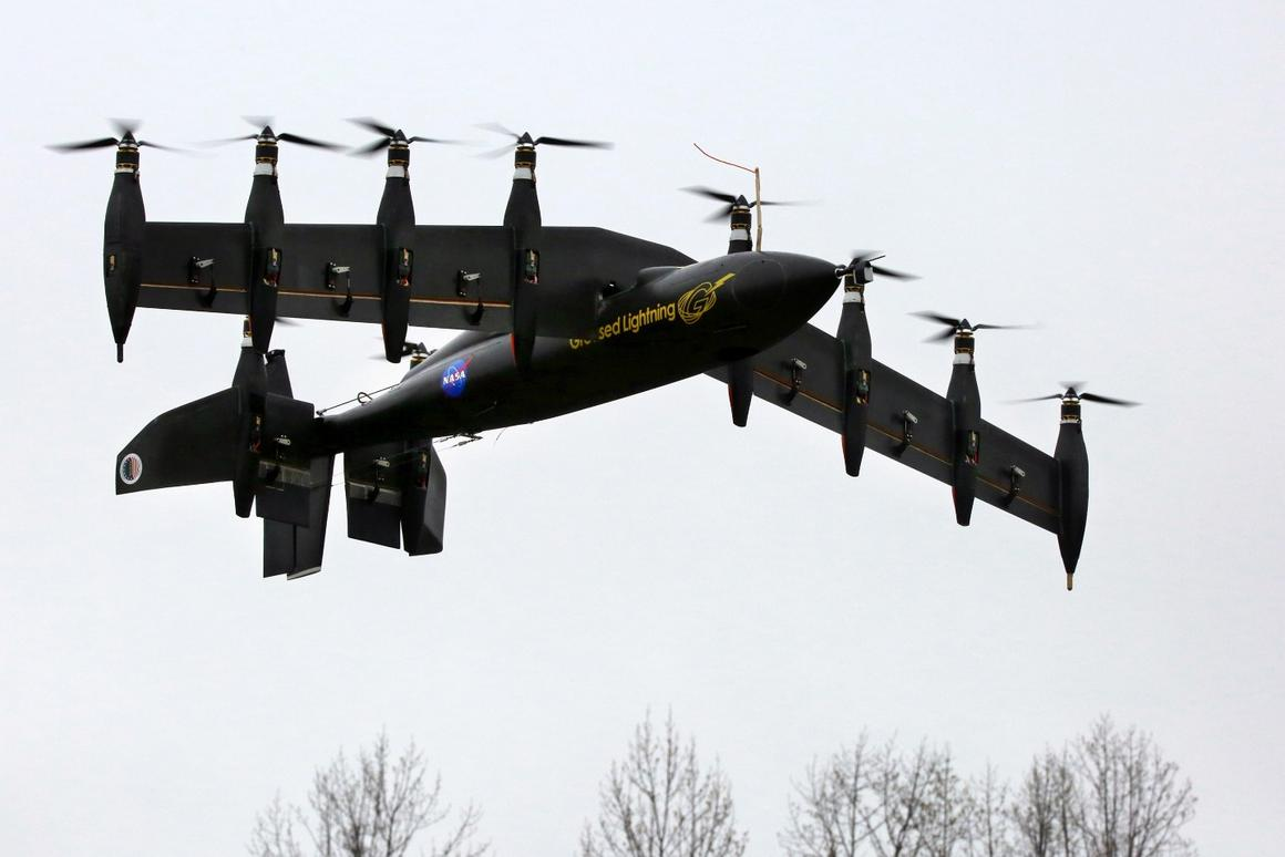 The GL-10 prototype takes off in hover mode like a helicopter (Photo: NASA Langley/David C. Bowman)