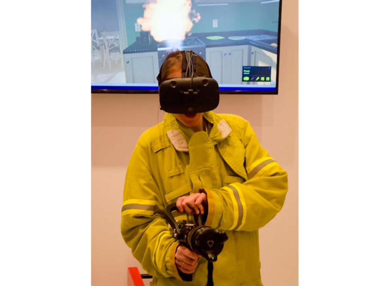 Putting the Vive Tracker to work in a firefighting training demo at CES 2017
