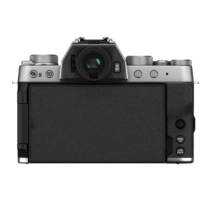 To the rear of the X-T200 is an electronic viewfinder and an articulating touchscreen LCD monitor