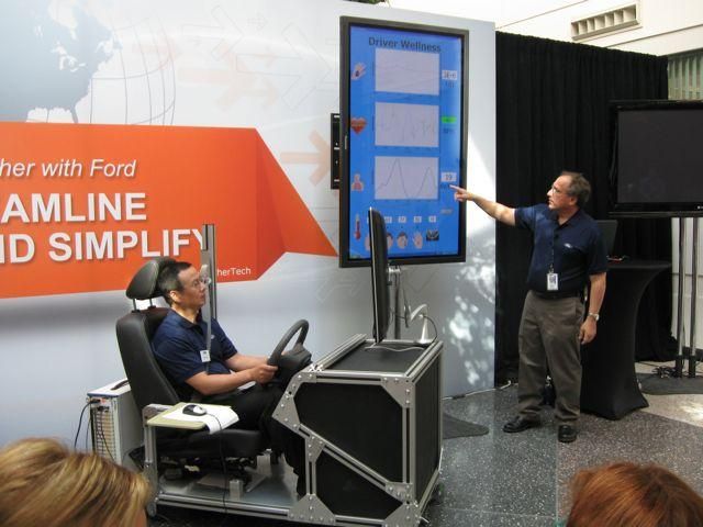 Jeff Greenberg (right) demonstrating the MyFord Touch intelligent test rig (Photo: Gizmag)
