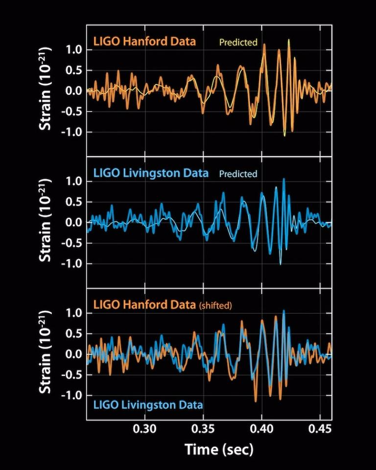 These plots show the signals of gravitational waves detected by the twin LIGO observatories