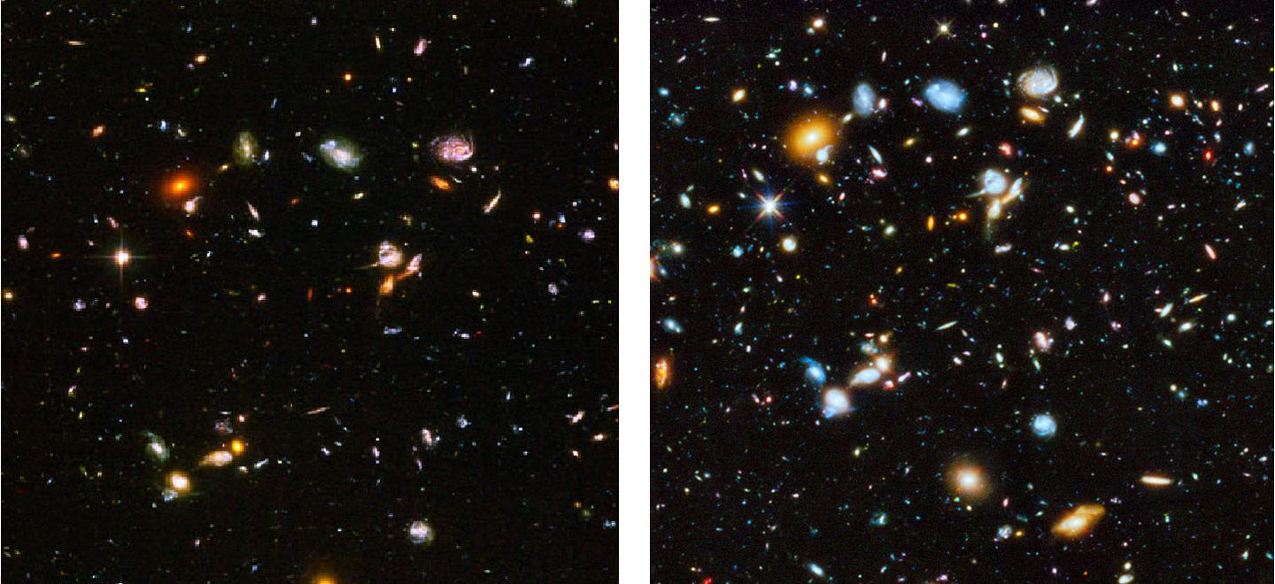 The Ultra Deep Field infrared and visible light image, on the left, and the newly released ultraviolet image, on the right (Image: NASA/ESA)