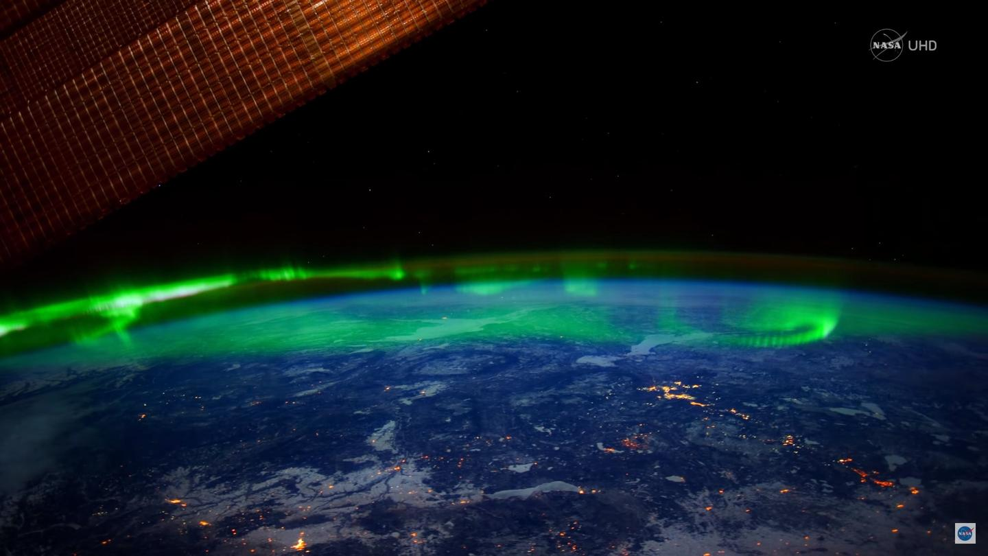 View of Earth's aurora as seen from the ISS's Cupola module