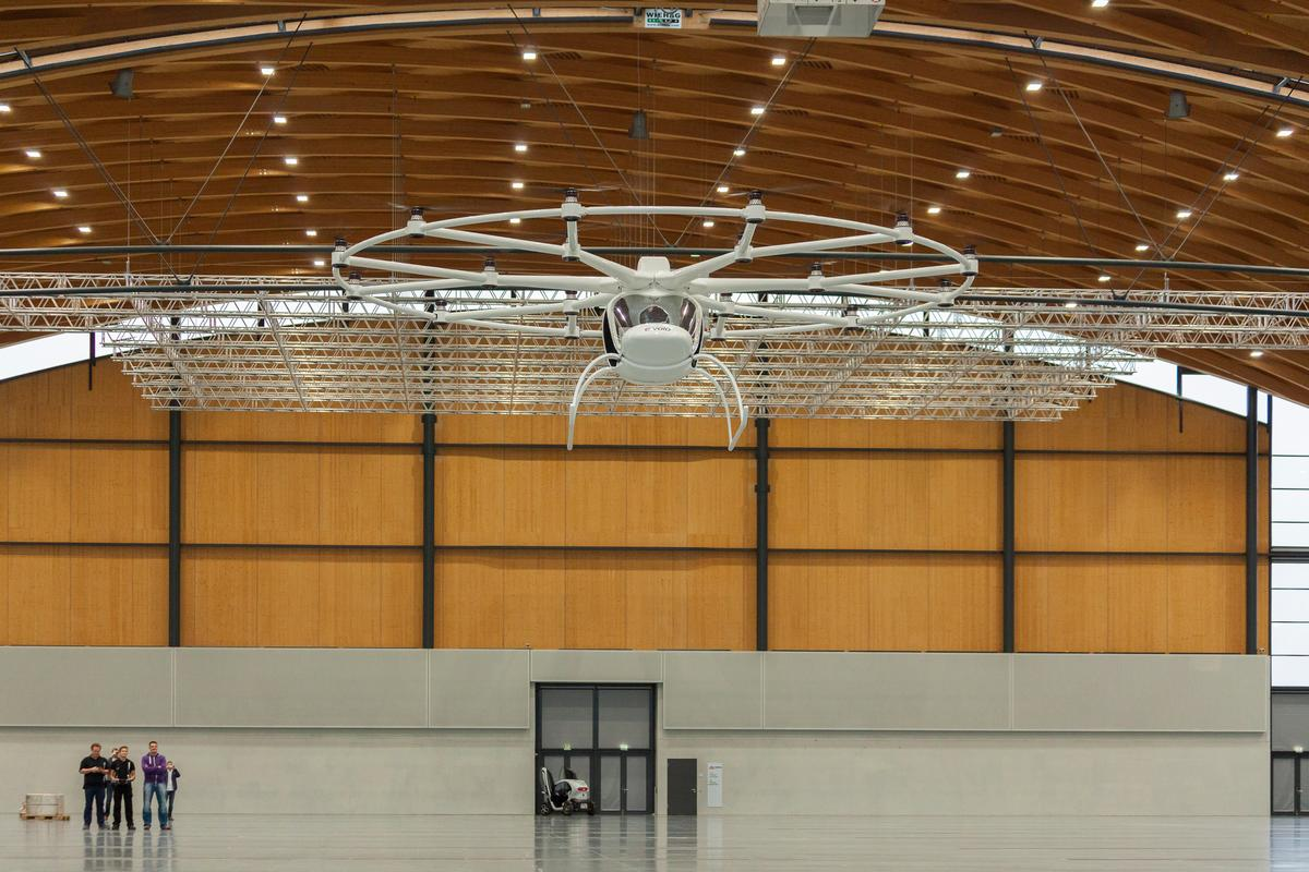 The 18-rotor electric Volocopter has taken to the air for the first time