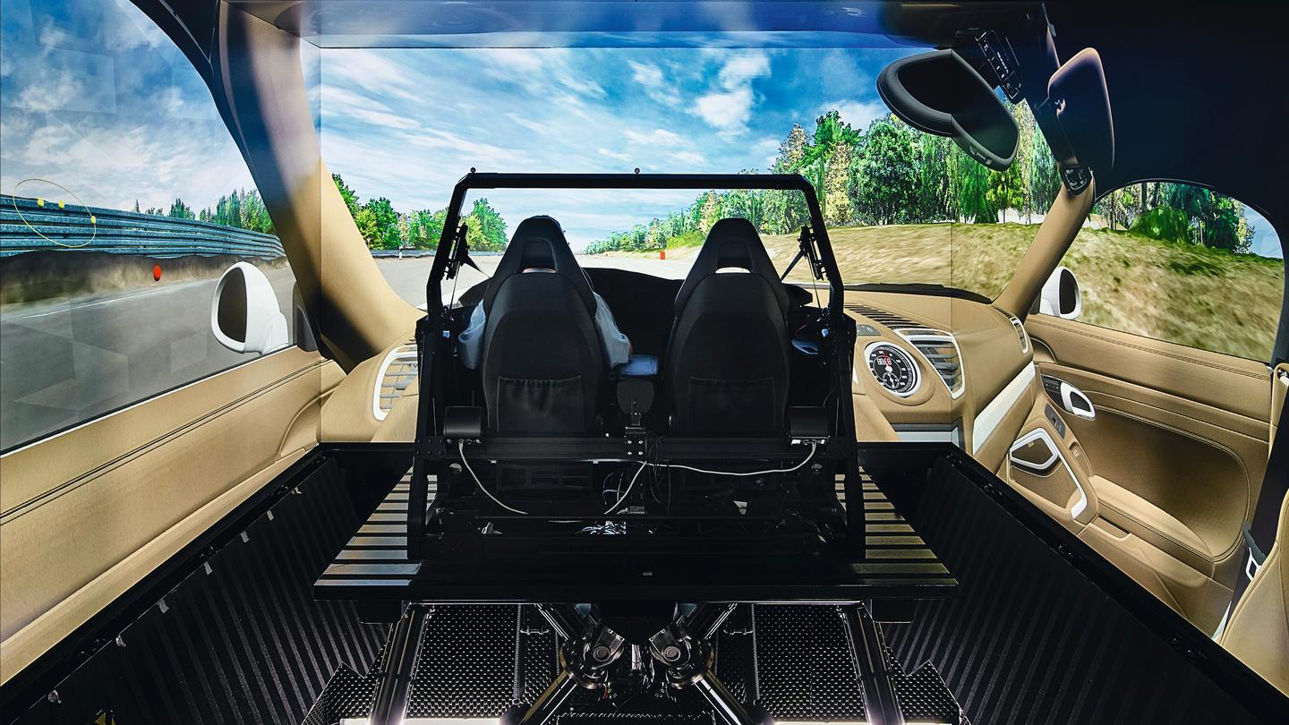 Porsche uses a mock cockpit known as a seat box to mimic the driver's environment, as it continues development of its electric Macan