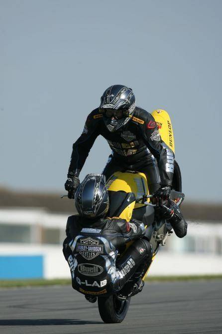 Craig Jones (riding) and Wing Chui (front wheel) breaking the world record at Donington.