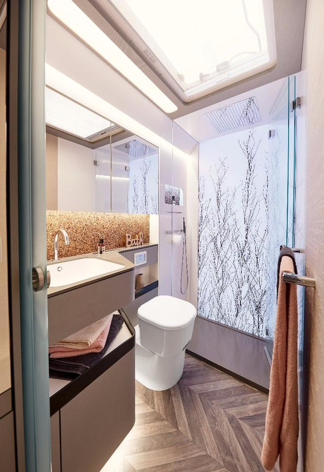 No cramped wet bath here;Bürstner's Harmony 3 has a spacious bathroom with artistic backlit shower