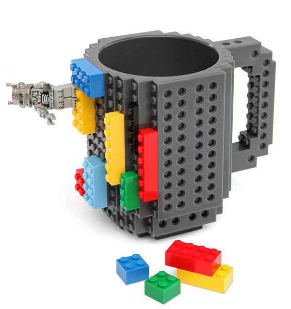 The Build-On Brick Mug is a coffee cup covered in studs and holes for attaching Lego and other building blocks to customize it