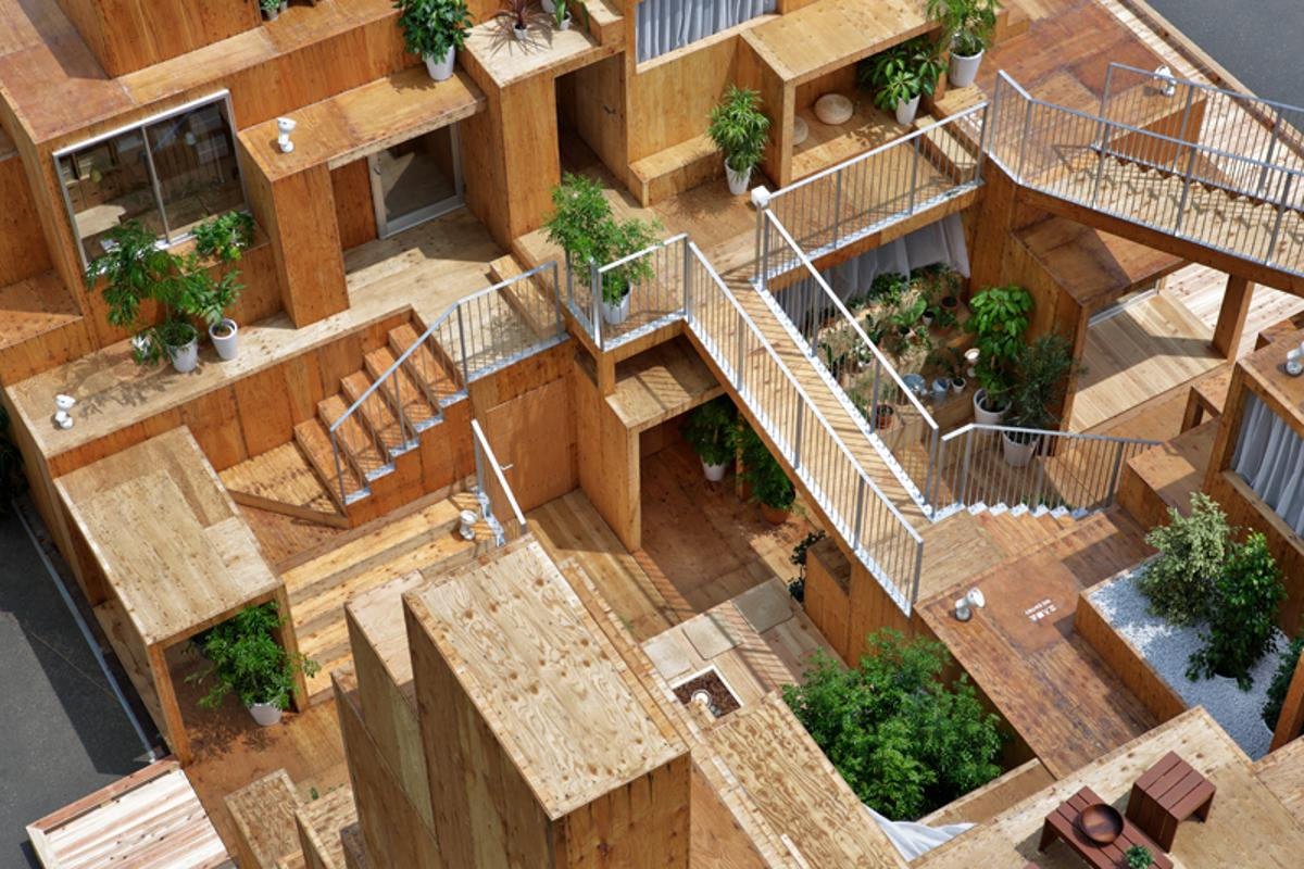 Rental Space Tower, by Daito Trust Construction Co., Ltd. and Sou Fujimoto, is an idea for shared living that focuses on providing generous shared spaces