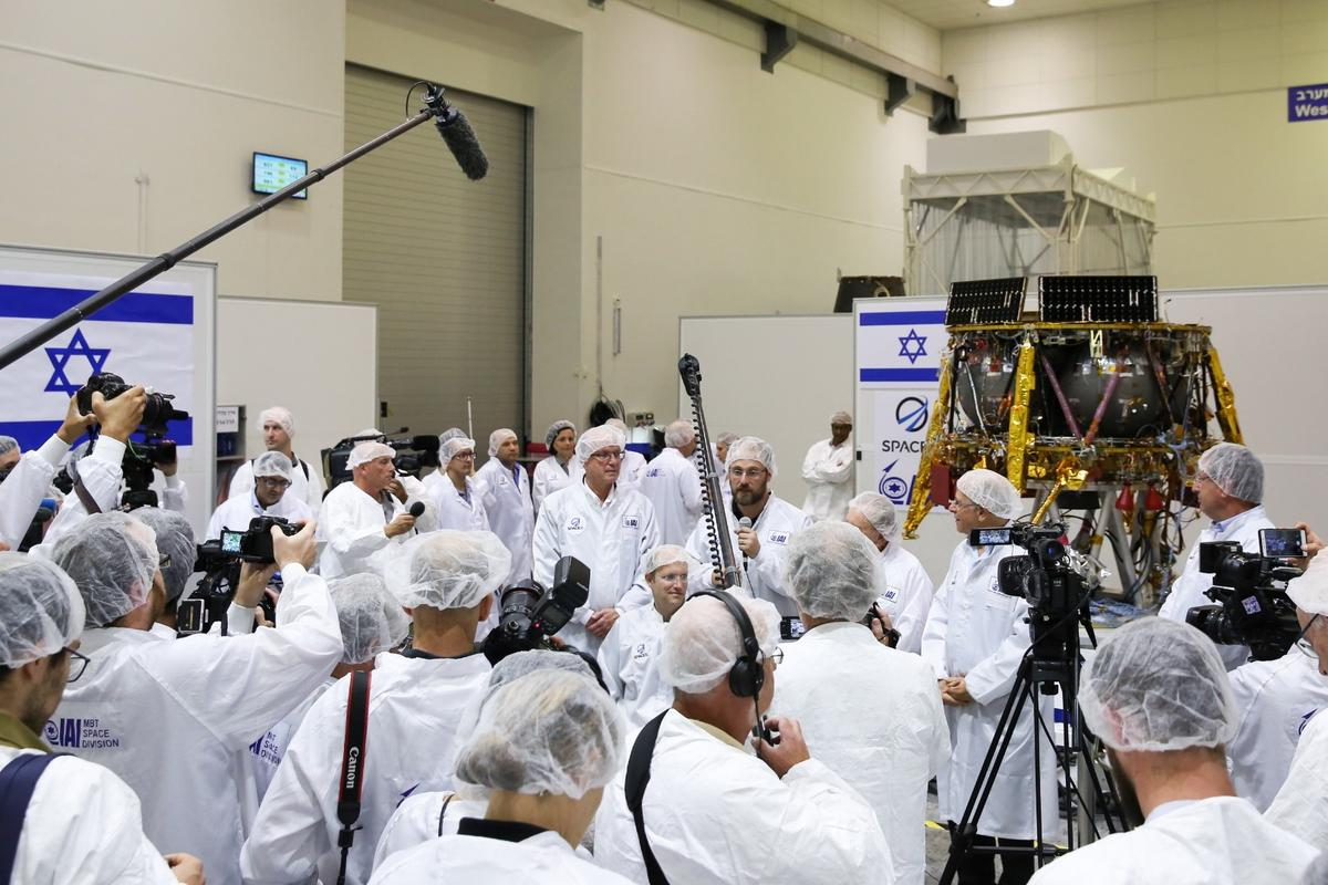 The SpaceIL lander at a press conference announcing the landing date