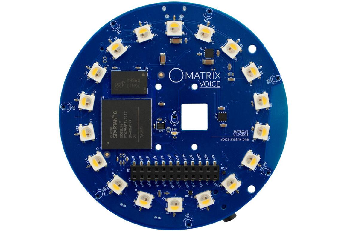 The Matrix Voice development board is 3.14 inches in diameter and isavailable now