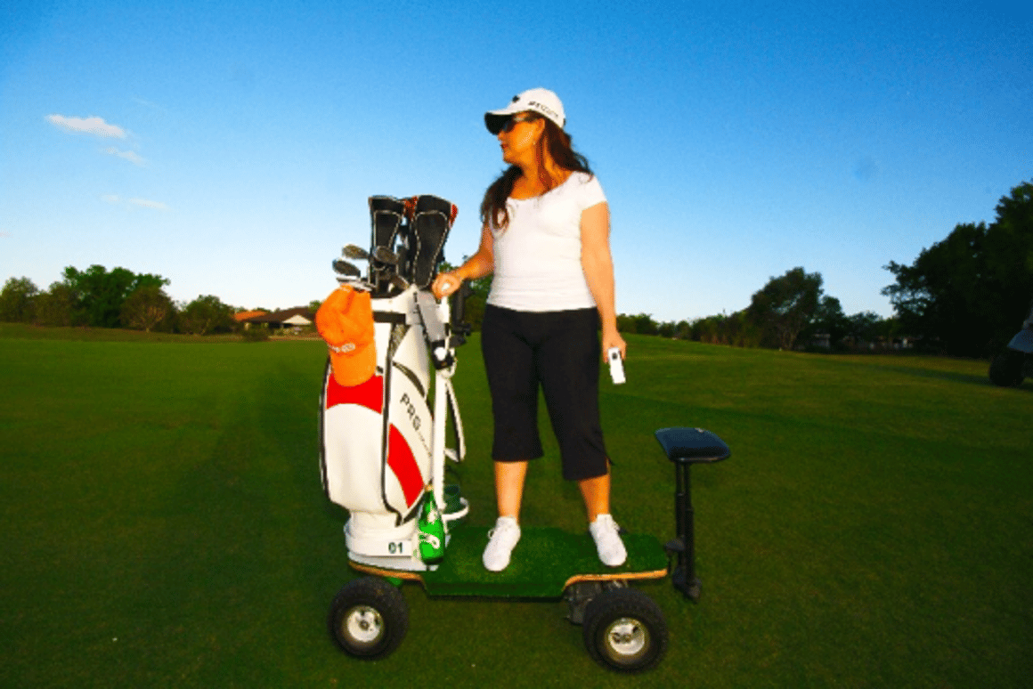The Golf Skate Caddy has a top speed of 20 kph, weighs 30 kg and can carry a maximum of 110 kg